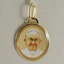 Medal Charm in Yellow 750 18k, Pope Francis, Glazed, Made in Italy image 1