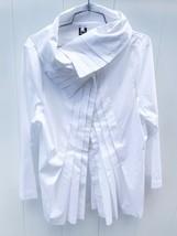 Ilona Pelli Designer White Cotton Pleated Tunic EU 42 US 10-12 M Lagenlook - $295.00