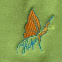 Orange/Turquoise Butterfly HOPE Crew M Meadow Green Sweatshirt Cancer Un... - $25.45