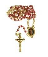Divine Mercy Jesus Rosary Medal Catholic Necklace Glass Beads Red Gold P... - $13.86
