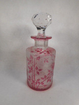 Antique Frosted and Cranberry Etched Vanity Bottle with Crystal Stopper - $296.01