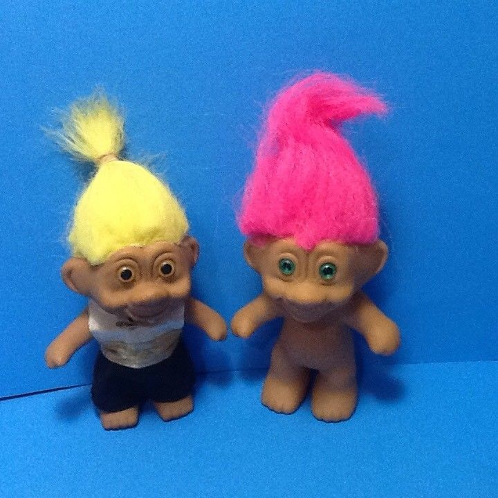 Vintage Pair of Trolls Doll Figures Boy & Girl One Dressed In Outfit