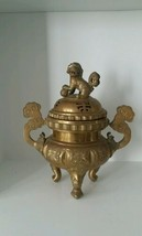 """CHINESE BRASS CENSOR ANTIQUE IMPERIAL GUARDIAN LION FOO DOG  - 14"""" high - $416.50"""