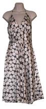 Sz 5/6 S Charlotte Russe Summer A-Line Halter Ivory Blue Silky Polka Dot Dress - $15.00