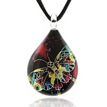Hand Blown Glass Multi-Colored Butterfly Teardrop Pendant Necklace - $53.11