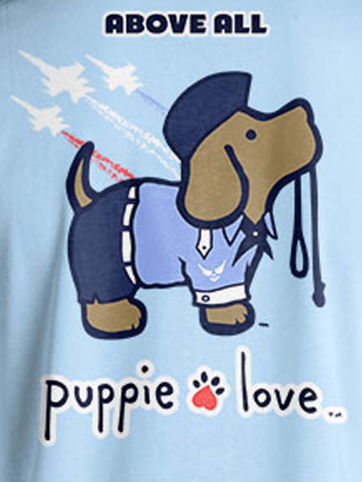 Puppie Love Rescue Dog Adult Unisex Short Sleeve Graphic T-Shirt, Air Force Pup