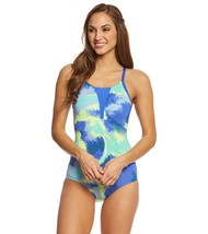NIKE Womens Printed Mesh Inset One-Piece Swimsuit Blue Medium, 9762-2 - $38.22