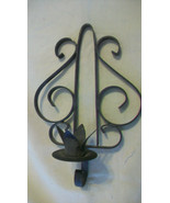 PAIR OF VINTAGE BLACK WROUGHT IRON CANDLE STICK CANDLE HOLDER, WALL HANGING - $29.69