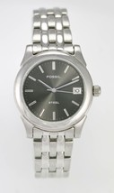 Fossil Watch Mens Stainless Steel Silver 50m Water Res Date Battery Gray... - $33.46