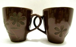 Pier 1 One Exclusive Stoneware Coffee Mugs Lot of 2 Brown w Flowers Flor... - $24.52