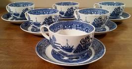 6 Vintage Homer Laughlin Blue Delph Cup & Saucer Sets - $26.21