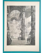 RUSSIA Moscow Kremlin Dormition Cathedral Interior - 1880s Wood Engravin... - $25.20