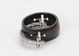 Titanium Ring w/Cross Charm - One Item w/Random Color and Design (silver-plat... image 4