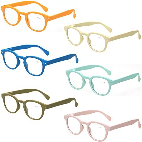 Reading Glasses 6 Pack Great Value Quality Readers Spring Hinge Color Glasses 6