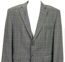 Pronto Uomo Platinum Mens 42 Short Suit Jacket Grey Glen Plaid Check 2 B... - $27.99