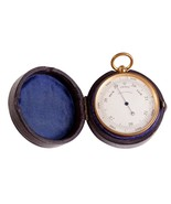 FREE SHIP: Antique Victorian Brass Pocket Barometer in Leather Case - $182.33