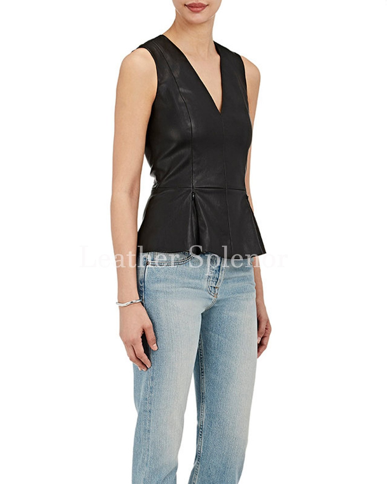 V Neck Sleeveless Women Pleated Peplum Leather Top