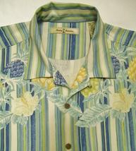 Tommy Bahama Men's Silk Shirt Tropical Striped Print Short Sleeve Xxl 2XL - $44.95