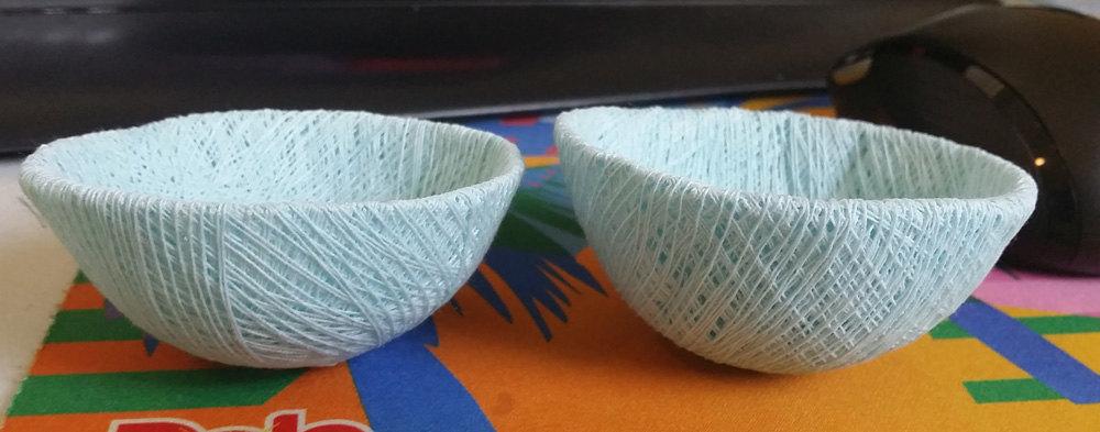 2 light blue string bird nests twine bowls art crafts supply decoration nature
