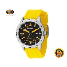 Fossil AM4202 Men Women Steel Round Diver Watch Yellow Silicone Strap Black Dial - $201.03