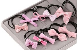 10Pcs Lovely Bowknot Girls Ponytail Holder Elastic Hair Ties, Pink