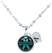 Custom Trigeminal Neuralgia Awareness Teal Ribbon Necklace Jewelry Initial - $13.94
