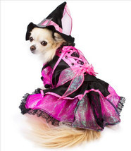Shiny Pink Witch Dog Costume with Jewel Buckled Hat - ₹3,059.92 INR+