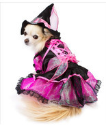 Shiny Pink Witch Dog Costume with Jewel Buckled Hat - £31.91 GBP+