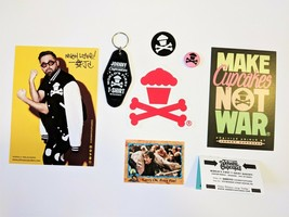 Johnny Cupcakes Key Chain, Stickers, Autograph, Pin Lot only Available i... - $18.86