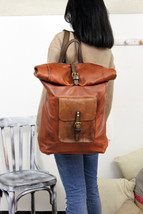 ROLL BACKPACK handmade leather & canvas backpack image 4