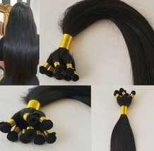 20″ Hand-Tied Weft Hair, 100 grams,100% Human Remy Hair Extensions #1B Off Black - $188.09