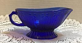 Vintage COBALT BLUE Glass Gravy Boat // Leaf Design - $11.25