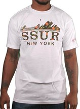 SSUR Fast Life NYC New York Cityscape Blowing White Short Sleeve Graphic T-Shirt image 1