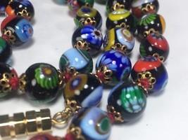 """Vintage Millefiori Italian Glass Beaded Necklace 28"""" // BEAUTIFUL - $64.34"""