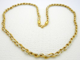 VTG CROWN TRIFARI Gold Tone Chain Weaved with Faux Pearls Necklace - $19.80
