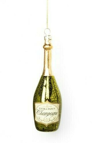 "Primary image for 6"" Champagne Bottle Glass Christmas Tree Ornament Holiday New Years NWT"