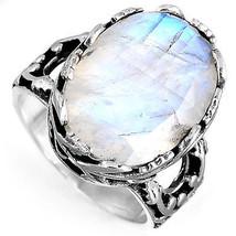 925 Sterling Silver Statement Flower Ring Moonstone Gemstone Jewelry Siz... - $65.43