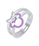 0.20 ct Round Cut Amethyst 14K White Gold Over 925 Silver Mickey Mouse Ring    - $72.24