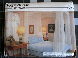 Vogue Pattern for Living 1712,  Drapes, Bed Canopy, Bedspread, Dust Ruff... - $4.89