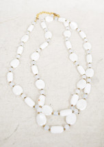 """Joan Rivers Extra Long 50"""" White Glass Moonstone Goldtone Beads Necklace - $39.60"""