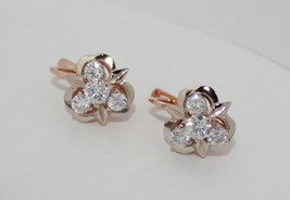 BIG Earrings Rose Gold 14K Vintage Russia USSR Soviet fine jewelry 6.5g ... - $387.09