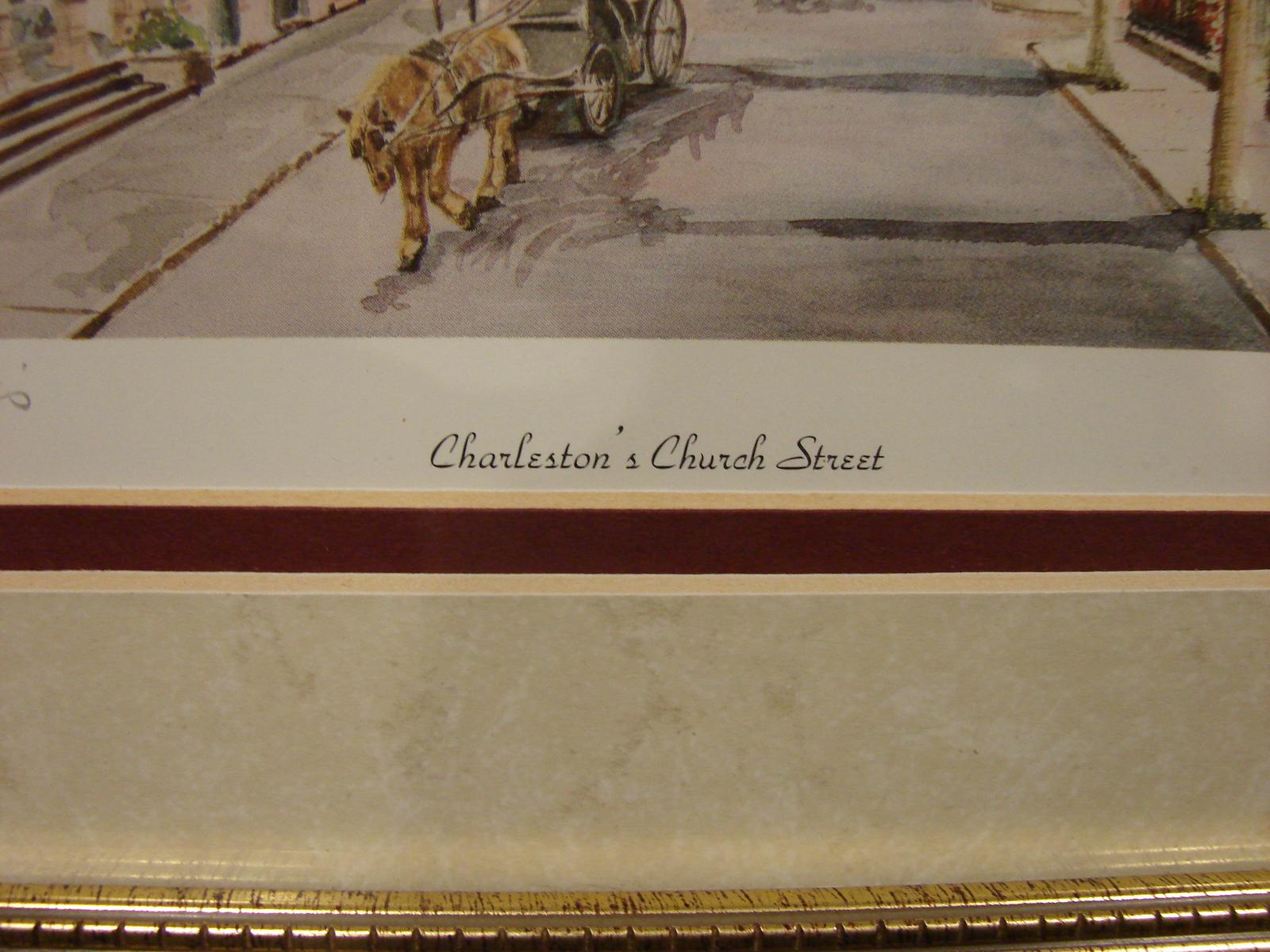 Marilyn Morris Signed, Framed  Litho Charleston's Church Street