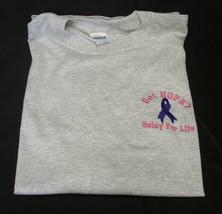 Gray L/S T-Shirt L Relay For Life Got Hope Purple Ribbon Cancer Ash Unisex New - $20.34