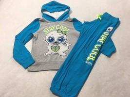 Justice 12 Stay Cool Furry Seal Blue Gray Hoodie Sweatshirt Sweatpants Set - $21.49