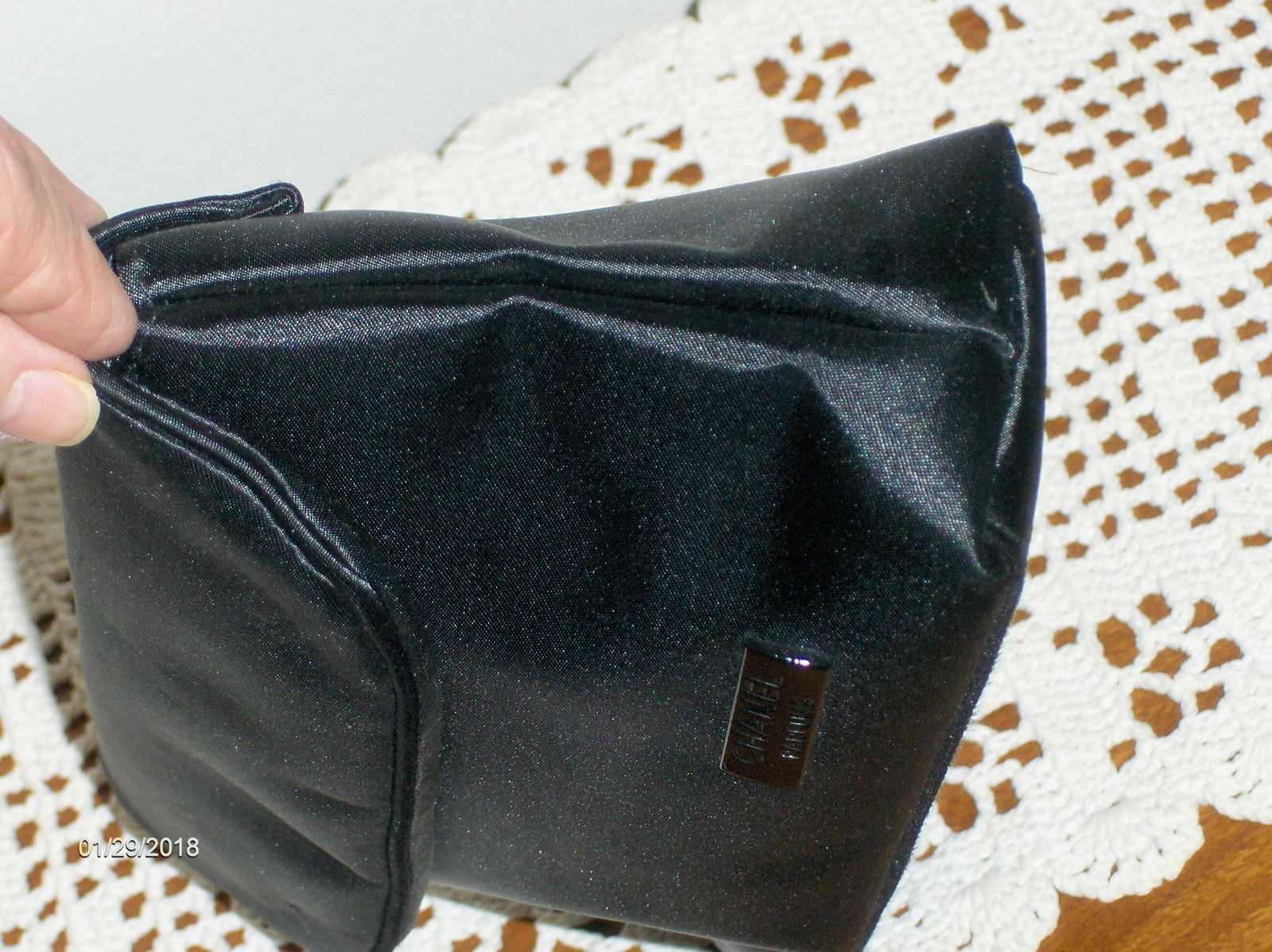 Chanel Parfums Cosmetic Makeup Bag Black Satin Clutch Purse Travel Case