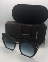 TOM FORD Sunglasses SAMANTHA-02 TF 553 01W 55-21 Black & Silver w/Blue Fade Lens - $449.95
