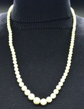 Light Yellow Polished Agate Graduated Bead Beaded Necklace Vintage - $29.69