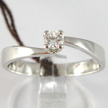 White Gold Ring 750 18K, Solitaire, Square Criss Crossed, Diamond, CT 0.10 image 1