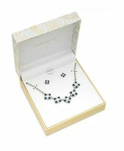 Charter Club Silver Toned Sapphire Rhinestone Stud Earrings and Necklace Set  - $24.70