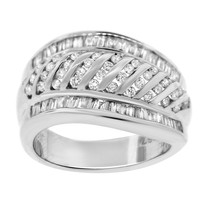 ESTATE 18K WHITE GOLD 2.00CT DIAMOND RIBBED RING - £1,008.28 GBP